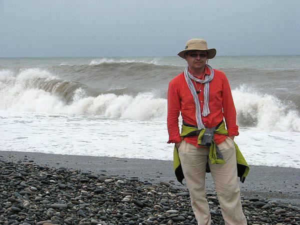 Autor na plaży w Batumi w sierpniu 2012 roku