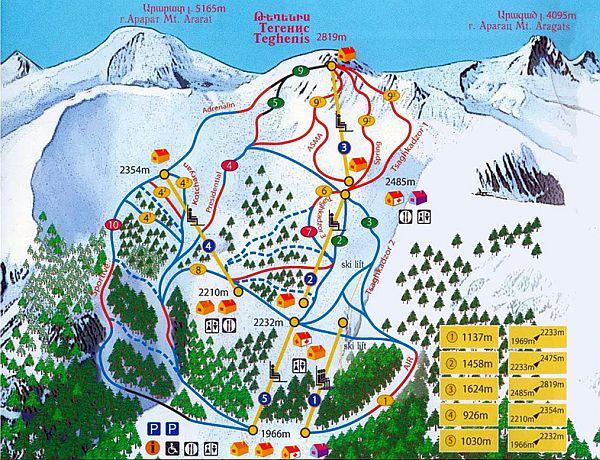 Armenia, mapa tras narciarskich w