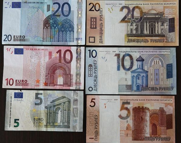 Nowe białoruskie ruble. Porównanie do euro. Zdjęcie pochodzi stąd.
